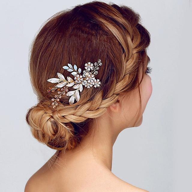 Women Hair Comb Clip Floral Head Piece Crystal Flower Bride Hair Pins