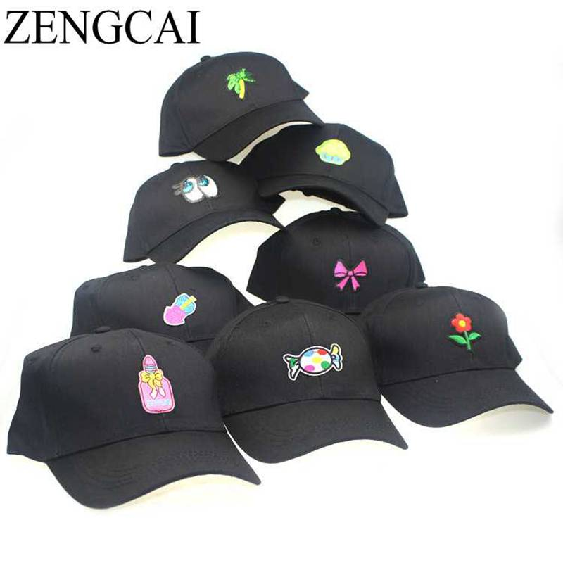 ZENGCAI 2017 Trendy Cotton Women Cartoon Baseball Cap Cute Candy Ice Cream Embroidery Hat Men Adjustable Snapback Caps For Adult chic ice cream color suede baseball hat