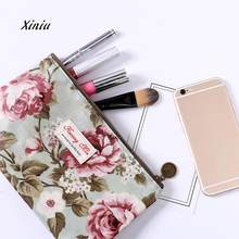 New Fashion Women Vintage Floral Printed Bag Women Make Up Bags Travel Bag Make Up Pouch Coin Bag Female Wallet Card Packet(China)