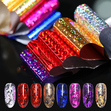 10 Colors/pack Starry Sky Nail Foils Sticker 4*20cm Colorful Manicure Nail Art Transfer Sticker Nail Art Decoration new 1pack 10 colors starry sky nail foils rose gold 2 5 100 cm sheet diy nail decor manicure nail art transfer stickers nz06 4h