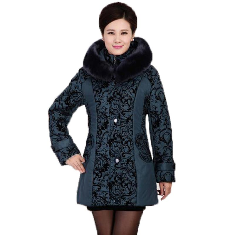 Winter Cotton Wadded Jacket Middle Age Women Plus Size Thick Warm Long Print Coat Fur Collar Hooded Outerwear Female PW0099 women winter down jacket coat wadded jacket middle age women thickening outerwear female down coat vestidos