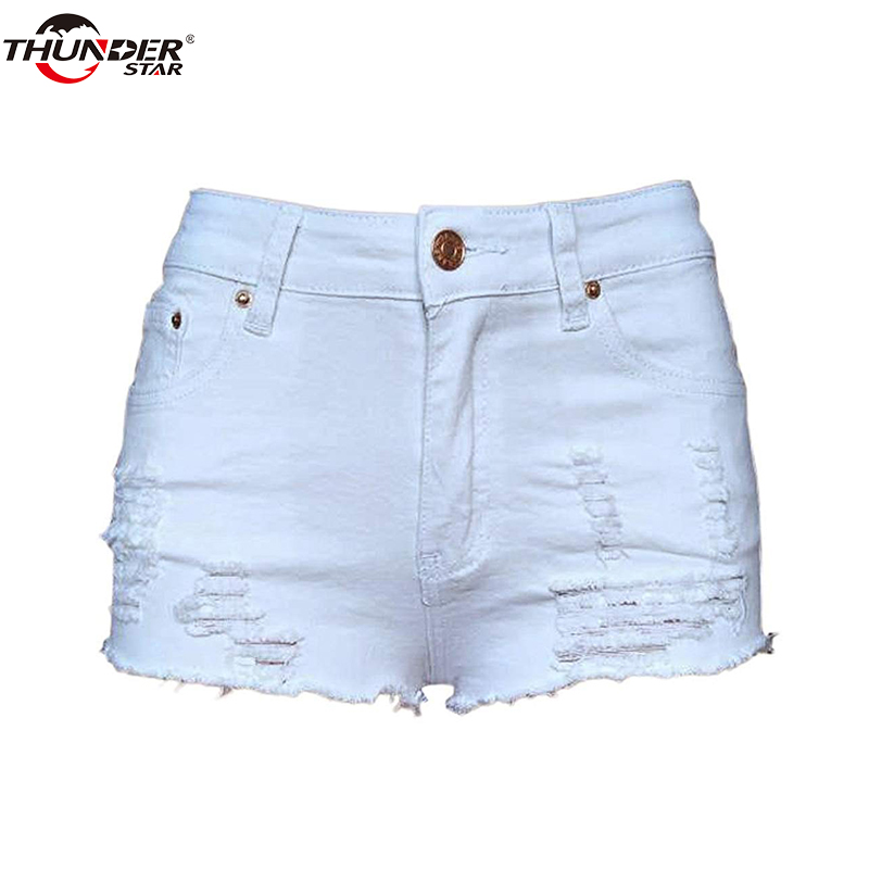 Summer Denim Shorts Women Ripped Hole White Black Casual Shorts Vintage Pocket Skinny Short   Jeans   2018 Girl Hot Shorts