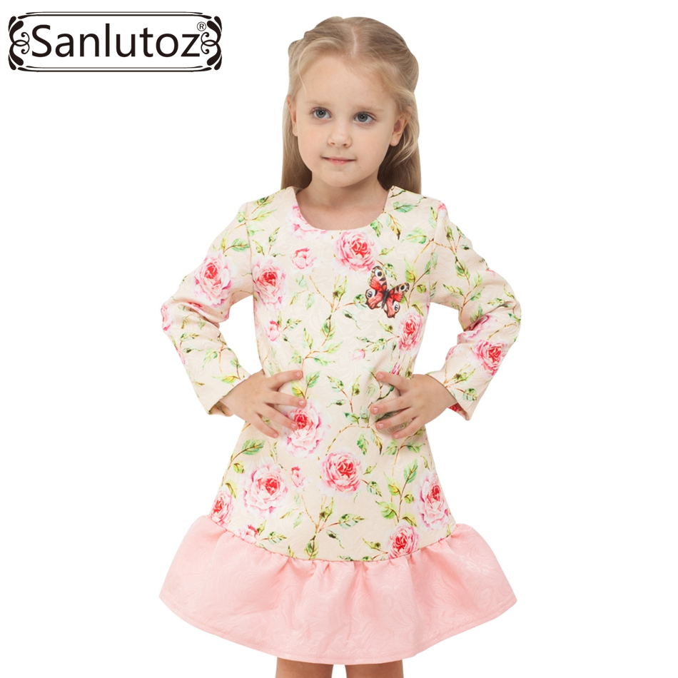 Sanlutoz Flower Princess Girl Dress Winter 2016 Kids Clothes Children Clothing Long Sleeve Fashion Butterfly Party Wedding цена