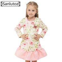 Sanlutoz Fleur Princesse Fille Robe Hiver 2016 Enfants Vêtements Enfants Vêtements À Manches Longues De Mode Papillon Partie De Mariage