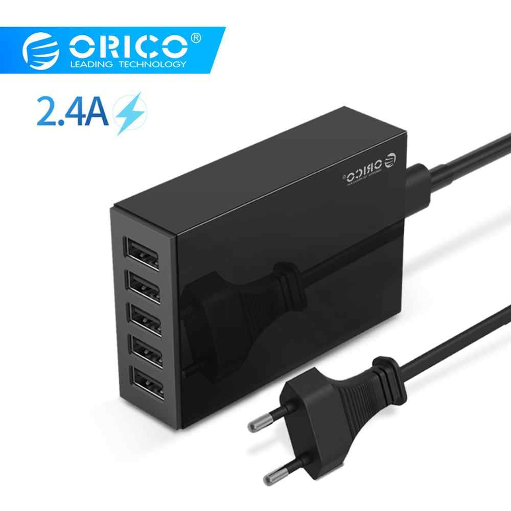 Orico 5 Port USB Travel Charger 5V2. 4A Uni Eropa US UK Plug Desktop Charger Adaptor untuk Ponsel Tablet CSL-5U