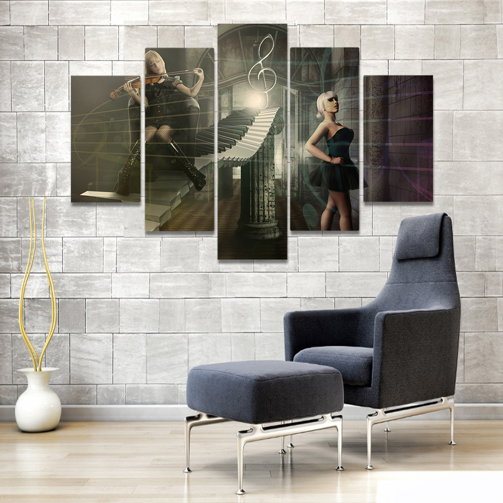 Unframed Canvas Painting The Dancing Girl Piano Music Stone Room Picture Prints Wall Picture For Living Room Wall Art Decoration