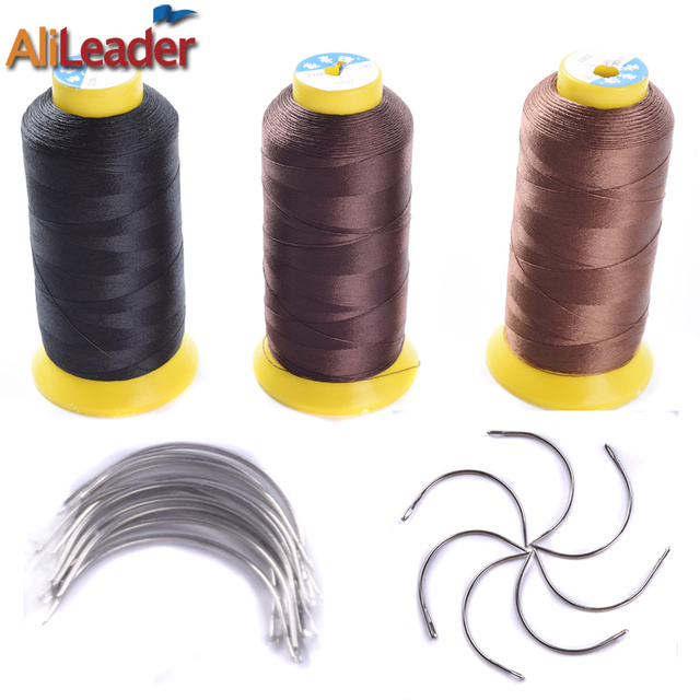 1pcs Black Brown Weave Thread 60pcs Hair Weaving Needles Nylon