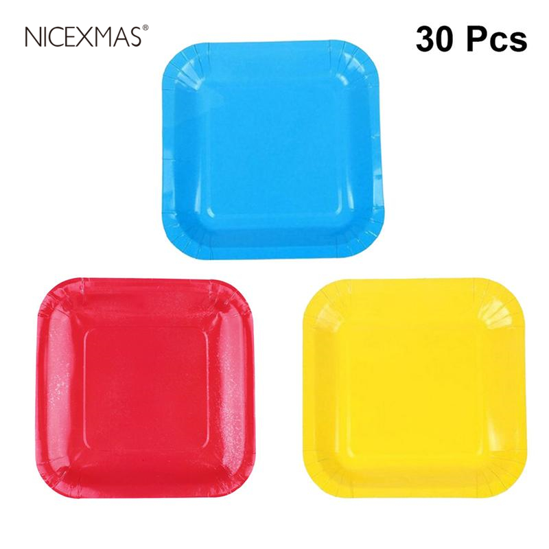 30pcs Kids Paper Plates Colored Disposable 7-inch Square Christmas Paper Plates Accessory For Craft Supplies Festivals