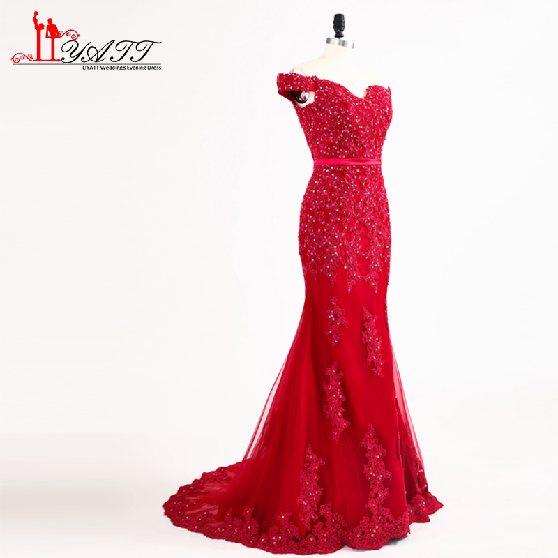 Hot Red Long Mermaid Prom Dresses 2018 New Off Shoulder Lace Beaded ...