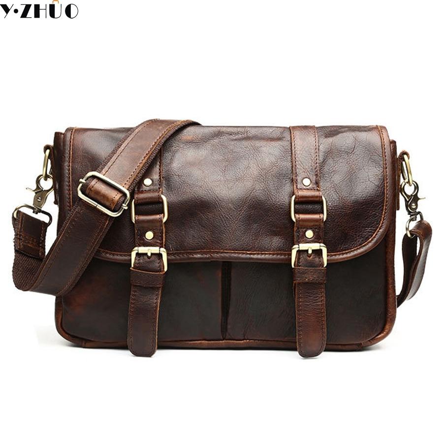 vintage genuine leather men messenger bags really cowhide men shoulder bag business briefcase men crossbody Laptop bags
