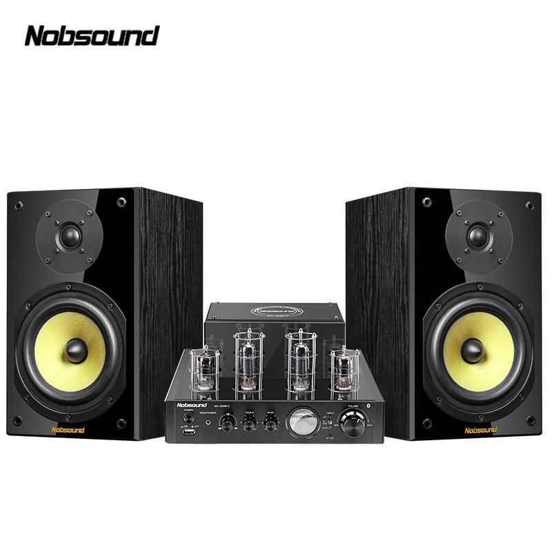 Nobsound CS1020 Wood 100W 1 Pair 6.5 inches <font><b>Bookshelf</b></font> <font><b>Speakers</b></font> 2.0 HiFi Column Sound <font><b>Bluetooth</b></font> Vacuum Tube Integrated Amplifier image