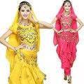 4 шт. Набор Производительность Монета Болливуд Индийский Костюм Взрослой Женщины Bellydance Dress Женщин Танец Живота Костюм 6 Цвет