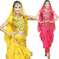 4pcs Set Performance Coin Bollywood Costume Indian Adult Woman Bellydance Dress Womens Belly Dancing Costume 6 Color