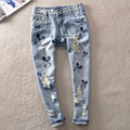 2016 new Mickey  summer style women harem pants hole jeans Boyfriend Jeans for Women Hole Vintage Girls Denim Pencil Pants 859V