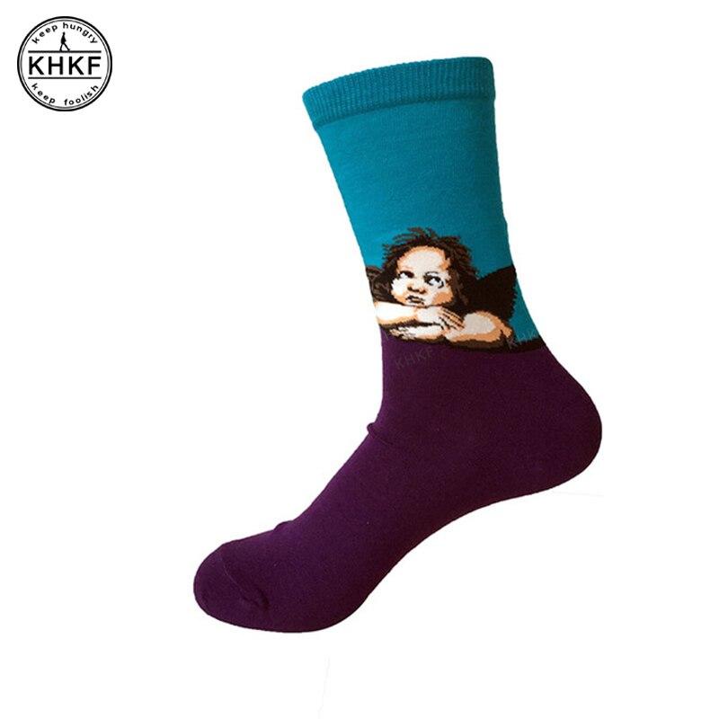 1 пара VanGogh Книги по искусству носки Мона Лиза живопись известный персонаж шаблон для Для женщин и Для мужчин Ангел Вашингтон, dc, забавные хло... ...