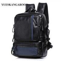 YUES KANGAROO Brand Men High Quality Leather 14 Inch Laptop Rucksack Youth School Bag Male Travel
