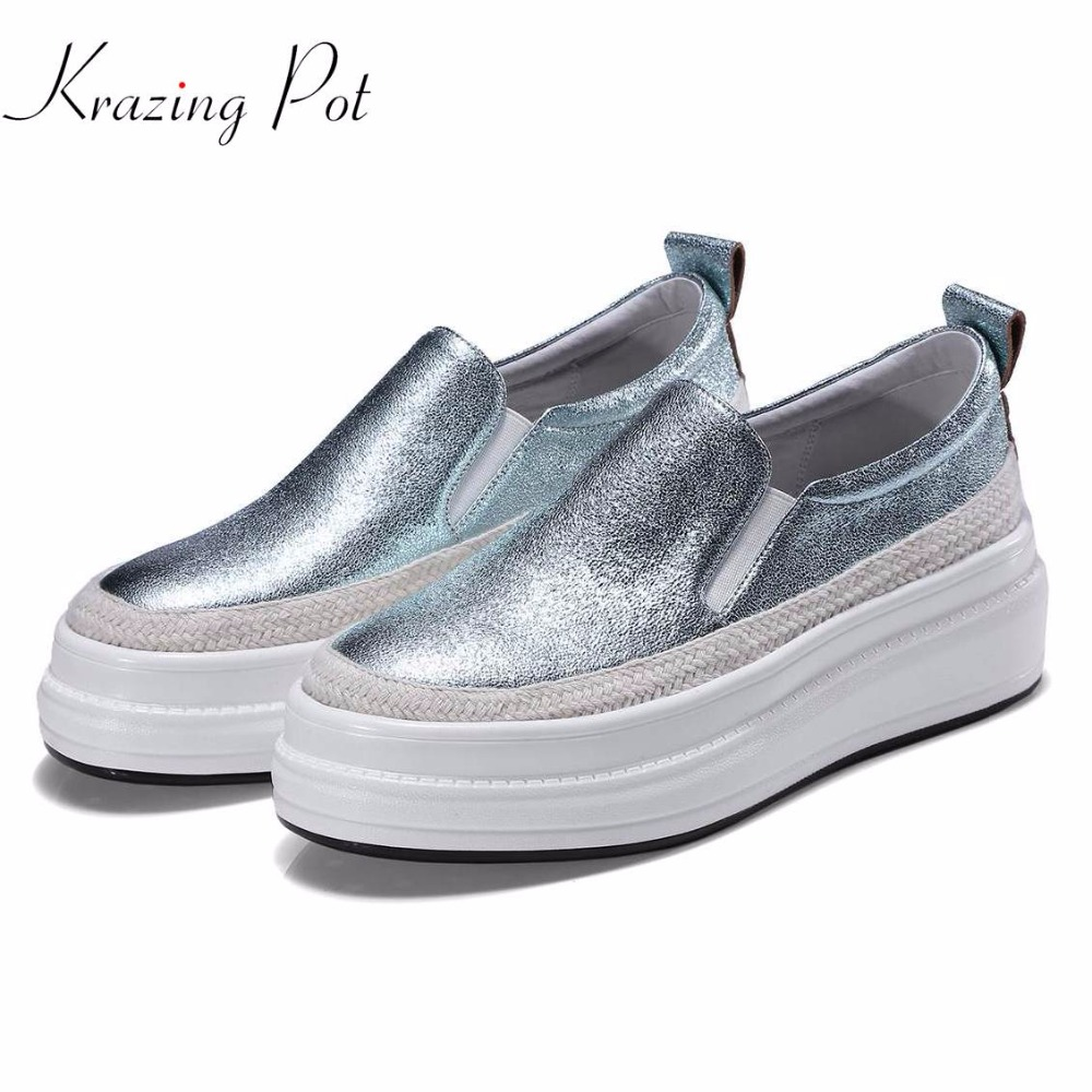 Krazing Pot 2018 new arrival sheep skin platform loafers sneakers women round toe slip on female
