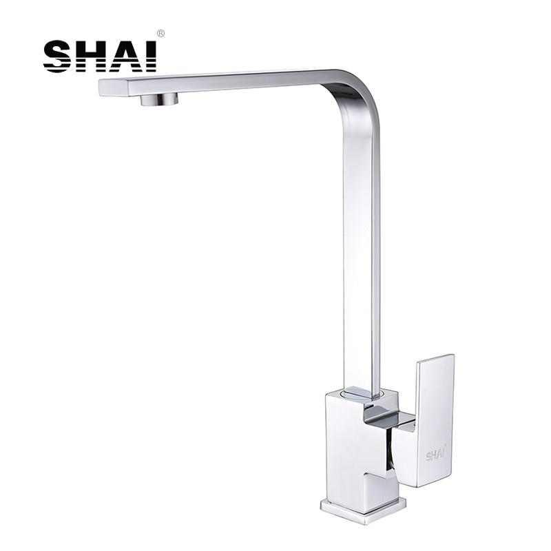 SHAI Flat Spout Kitchen Faucet 360Degree Rotation Single Handle Hot Cold Water Mixed Tap Chrome Polish