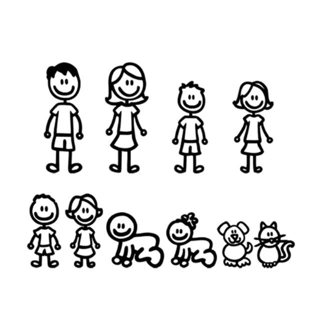 15*58 cm dibujos animados una gran familia pegatinas de coche de vinilo de moda accesorios decorativos de coche negro/blanco