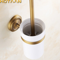 Free Shipping Toilet Brush Holder Ceramic Solid Brass Construction Base Bathroom Accessories YT 10412