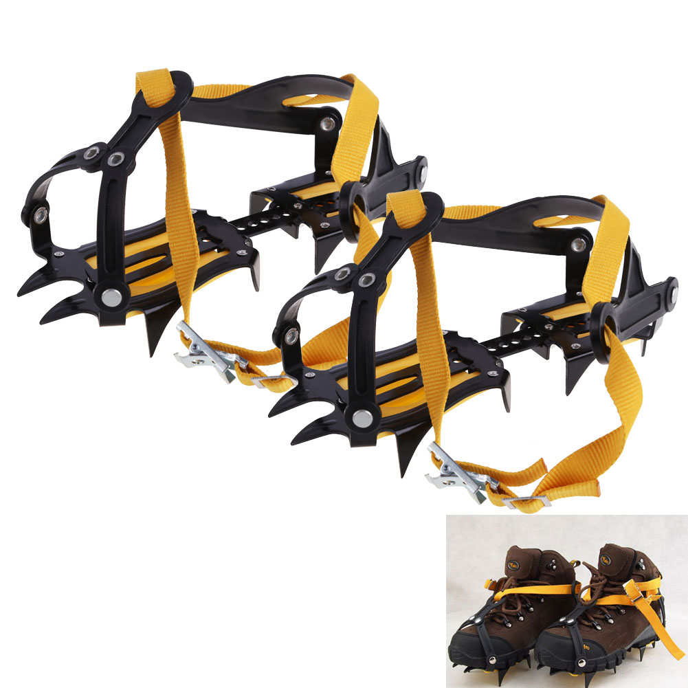 1 Pair Bundled Crampons Professional 10-point Manganese Steel Ice Gripper Ice Crampons Snow Board For Skiing Climbing with Bag 1 pair ice gripper slipproof strong ice crampons skiing crampons shoes snow walker for snow mountain climbing walking bag