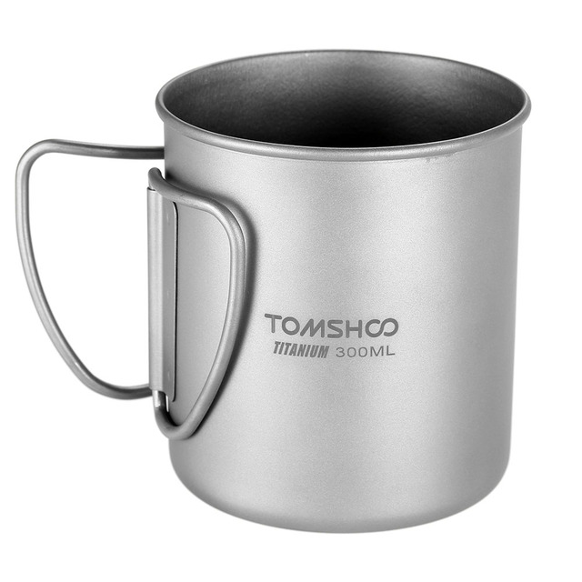 TOMSHOO 300ml Titanium Cup Outdoor Portable Camping Water Cup Picnic Water Cup Mug Tableware with Foldable Handle