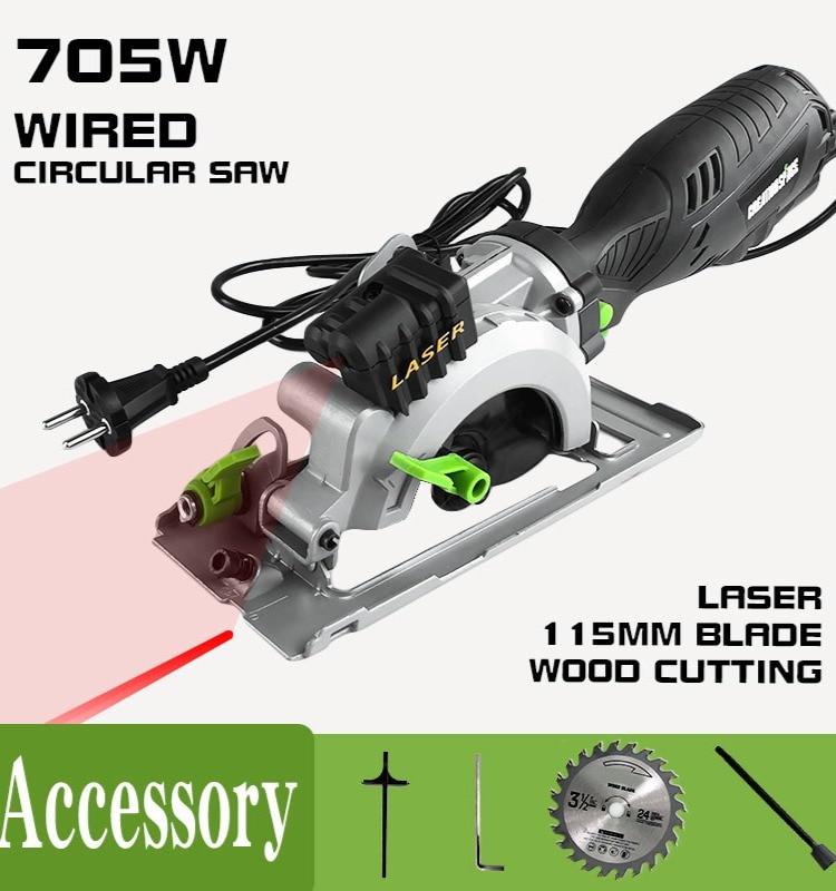 Livraison gratuite pour RU scie à bois filaire à main scie circulaire à bois 115mm
