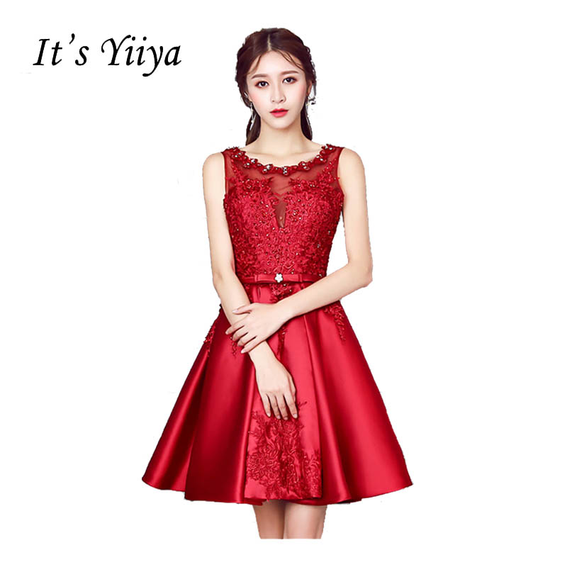It's Yiiya Red O-Neck Sleeveless Embroidery Lace Beading Cocktail Dresses Illusion Taffeta Above knee Party Formal Dresses X303