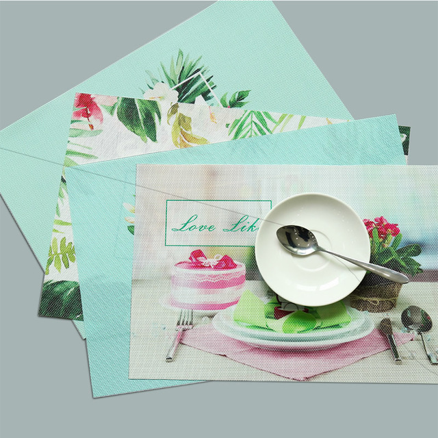 Pinele Placemats Cake Printed Pvc Dining Table Mat Disc Pads Bowl Pad Coasters Waterproof Cloth Slip Resistant