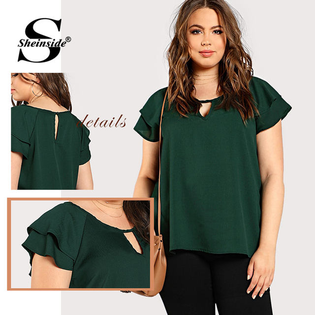 Sheinside Green Plus Size Keyhole Neck Loose Top Long Blouse With Butterfly Sleeve Summer Tops for Women 2019 Cap Sleeve Blouses 5