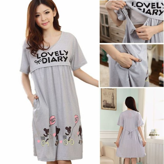 ed645967e49 Maternity Clothing New Character Short Knee-length Cotton Casual Clothes  for Pregnant Women Breastfeeding Dress Nursing Clothes