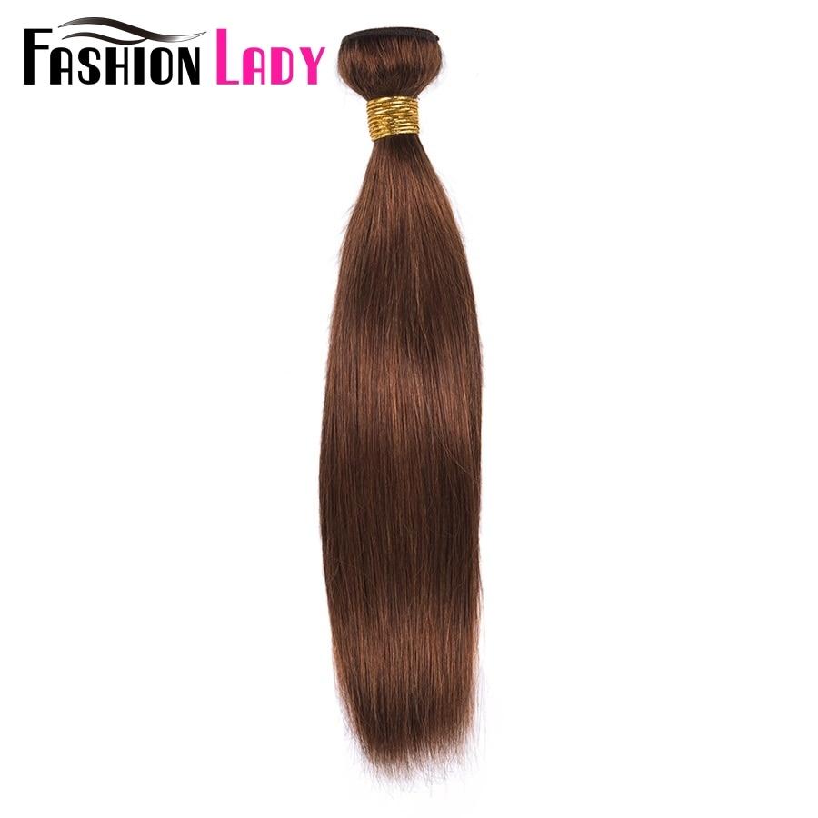 FASHION LADY Pre-Colored Indian Straight Hair 100% Human Hair Weave #4 Medium Brown Hair 1/3/4 Bundle Per Pack Non-Remy
