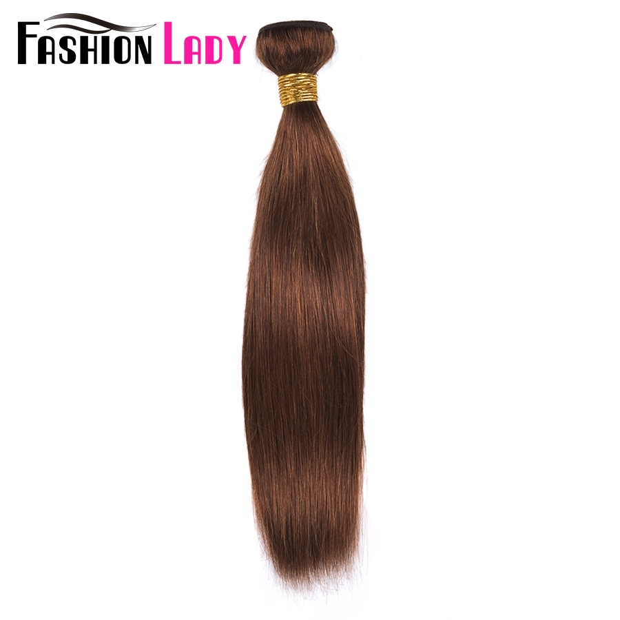 FASHION LADY Pre-Colored One Piece Indian Straight Hair 100% Human Hair Weave #4 Medium Brown Human Hair Bundles Non-Remy