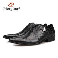 Piergitar 2018 new Black Genuine Leather Men Dress Shoes Formal Business Shoes Wedding Dresses Shoes Lace up men Oxford Shoes