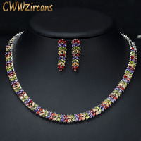 CWWZircons Marquise Cut Colorful Cubic Zirconia Stones Bridal Round Choker Necklace Earring Set For Women Wedding