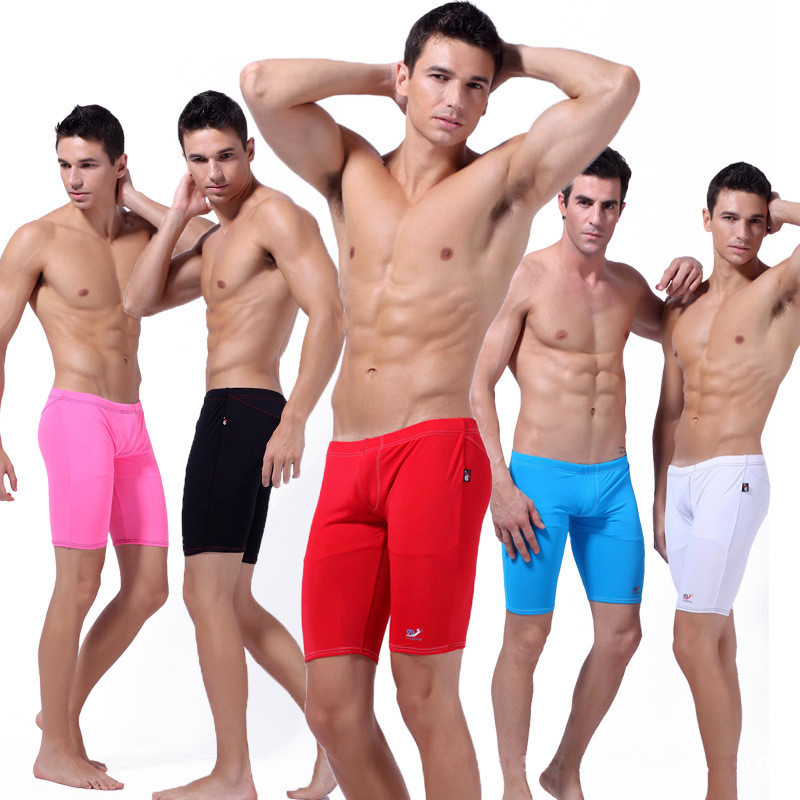 936184f288d 2017 Hot Men Swimwear Sexy Swimming Trunks Men's Red Long Racing Swimming  Shorts Boxers Sports Suit Soft Swimsuit Man WSSW020