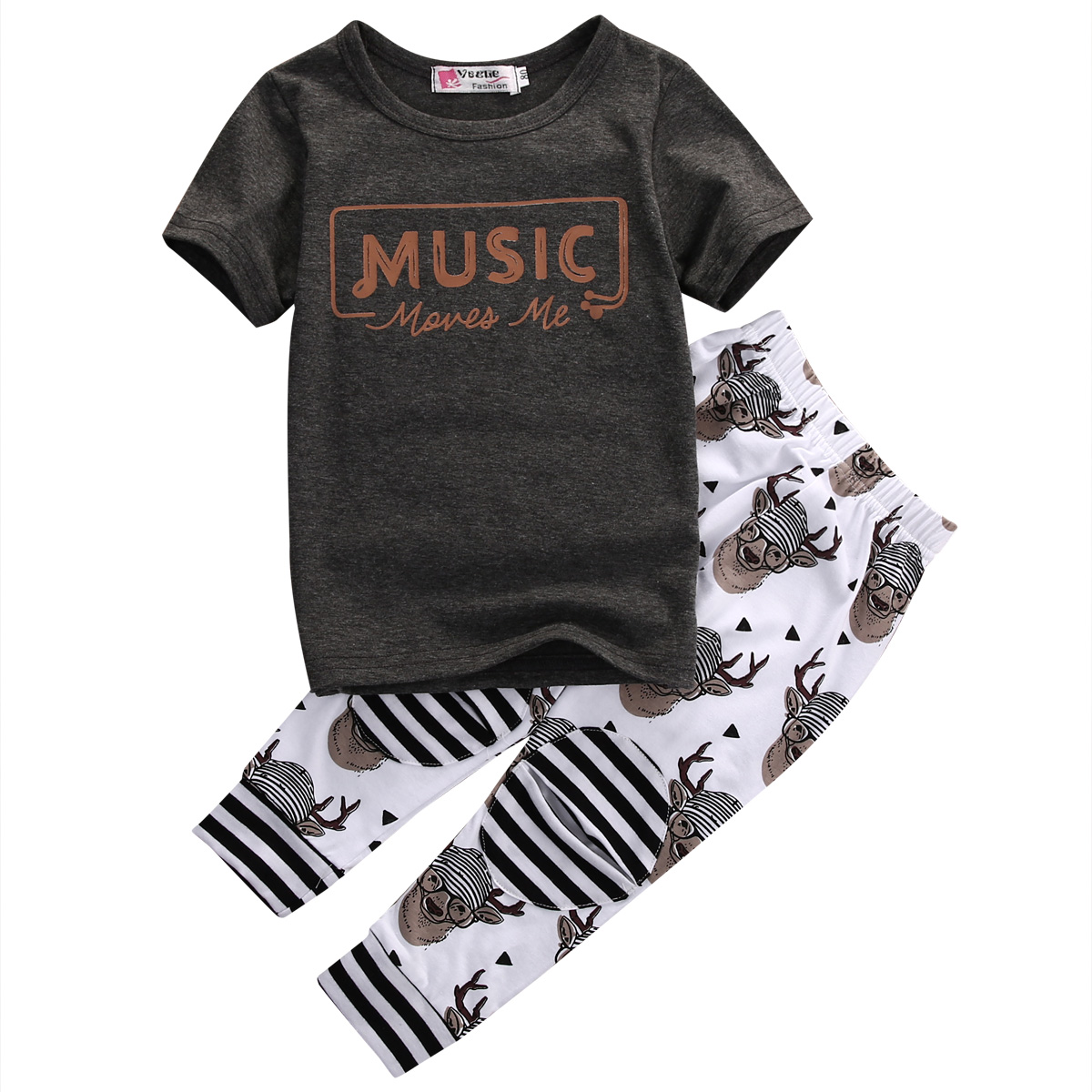 2pcs summer fashion hot Baby Boys Girls Kids music  T Shirt Tops + Long Pants Trousers Rompers Outfit Set Clothes 1-5Y fashion handpainted palm sea sailing pattern hot summer jazz hat for boys