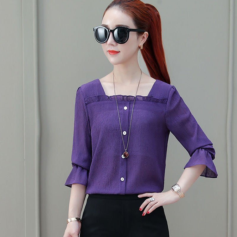 Women Spring Summer Style Chiffon   Blouses     Shirts   Lady Casual Half Sleeve Solid Color Square Collar Blusas Tops DF2303