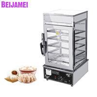 BEIJAMEI Commerciële Broodje Brood Voedsel Stoom Glas Showcase Rvs Elektrische Stoomkoker Voor Verkoop