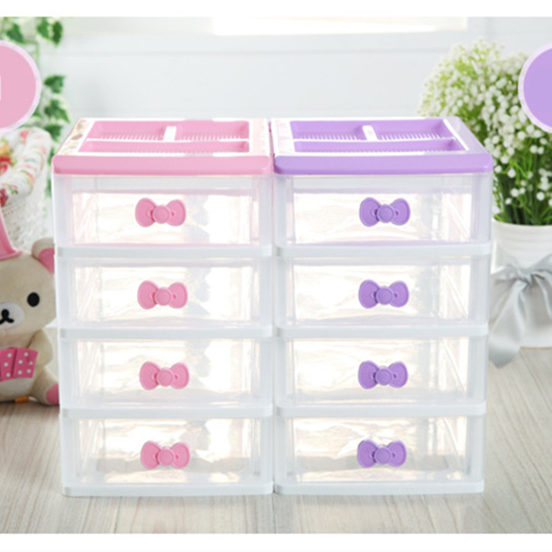 pretty plastic desk storage box 2 3 4 layer makeup organizer home sundries drawer organizer pink. Black Bedroom Furniture Sets. Home Design Ideas