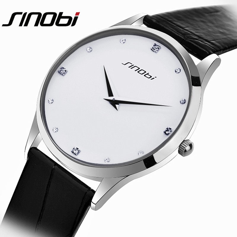 SINOBI Super Silm Mens Watches Man Leather Quartz Wristwatch for Male Best Crystal Watch Famous Brand Top Quality 2016 hot sell sinobi brand leather strap watch for mens man fashion style quartz military waterproof wristwatch wholesale