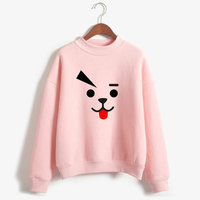 kpop exo new Pink casual loose cartoon high collar hoodies women Blackpink 2019 korean popular kawaii sweatshirts women clothes