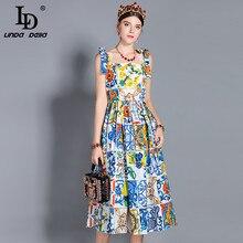 LD LINDA DELLA แฟชั่นรันเวย์ฤดูร้อนของผู้หญิงโบว์สปาเก็ตตี้สายคล้องดอกไม้พิมพ์ Midi ฝ้ายชุด vestidos