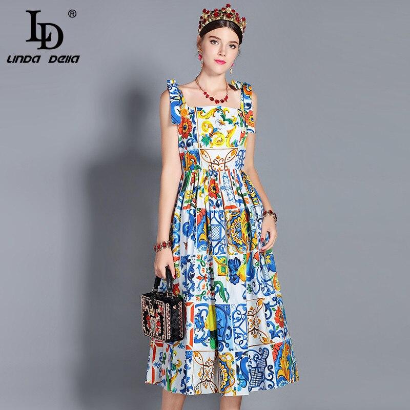 LD LINDA DELLA Nouveau 2019 Mode Piste robe d'été de Femmes Arc De Courroie De Gaine Magnifique Imprimé Floral Midi Coton Robe robes