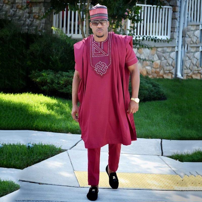 H&D African Men Clothing 3 Pieces Set Mens Dashiki Shirt Africa Bazin Riche Outfit Clothes Dress Tops Pant Suits No Cap