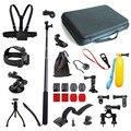 Kit para Gopro Xiaomi Yi accesorios 18 en 1 bolsas monopie Stick Bobber pecho moto Head Mount correa trípode conjunto de ventosa