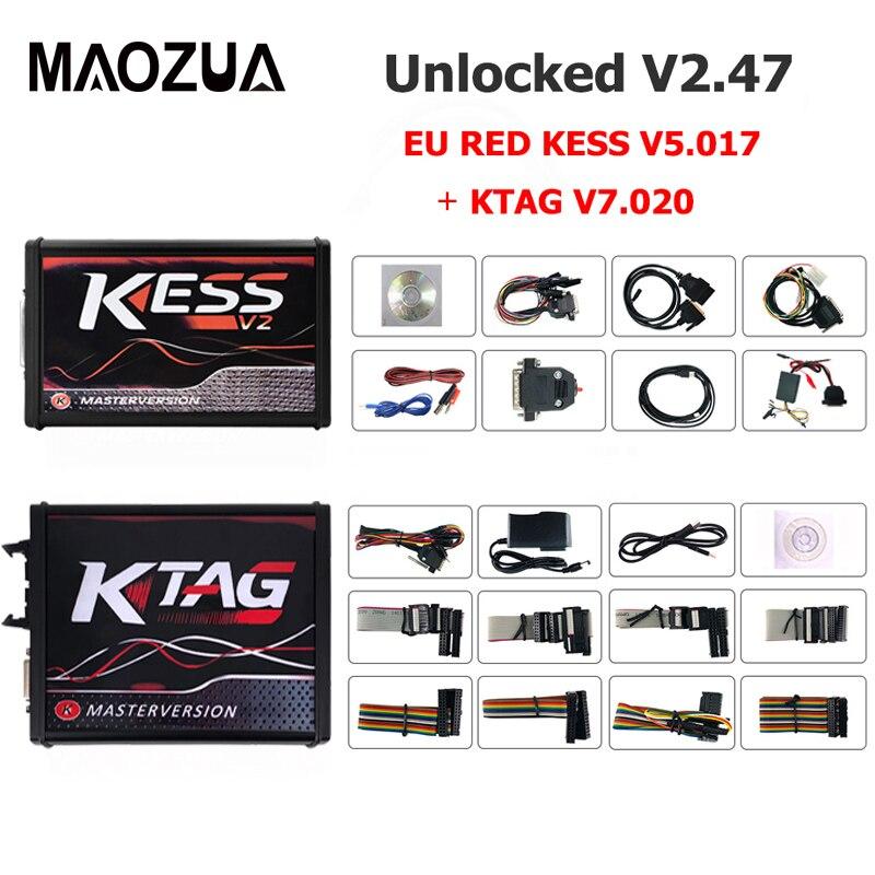 DHL gratuit en ligne V2.47 KESS V2 V5.017 EU rouge ECM titane KTAG V7.020 4 LED ECU gestionnaire Tuning Kit OBD2 voiture/camion programmeur outil