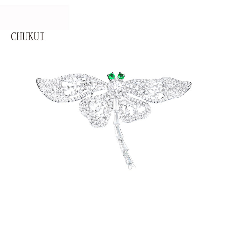 Sparkling Rhinestone Crystal Silver Dragonfly Brooch Dragonfly Insect Brooches for Women Elegant Party Dress elegant artificial gem oval rhinestone leaf floral brooch for women