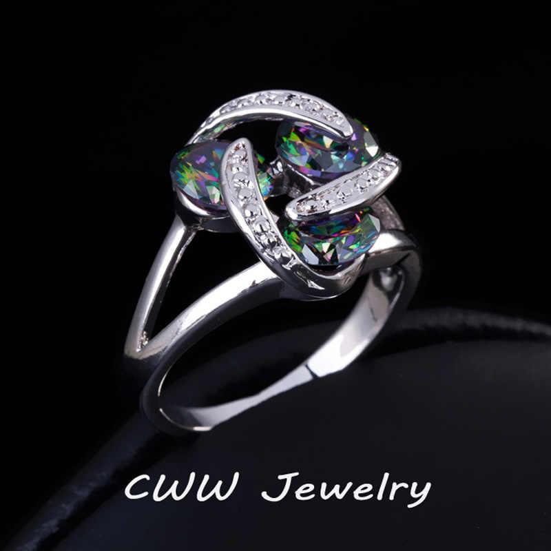 Cwwzircons Mewah Austria Geometris Desain Berkualitas Tinggi Alami Rainbow Mystic Crystal Batu Mewah Cincin untuk Wanita R079