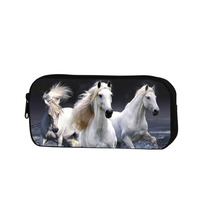 Horse Printed Cosmetic Cases Cool Pencil Bag For Boys Zippered School Pencil Cases For Kids Polyester